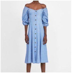 """Chambray Midi Dress By Zara """"Romance"""" Button Down"""
